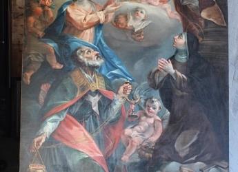 Dipinto di Sant'Ambrogio e Santa Marta, in adorazione al SS. Sacramento